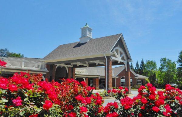 Gaines Park Senior Living | Exterior building, close up of the roses